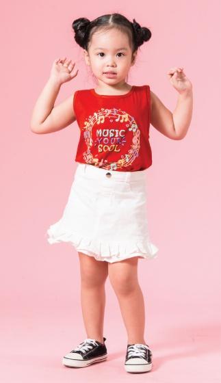 UN15 - Áo thun bé gái (đỏ cam)