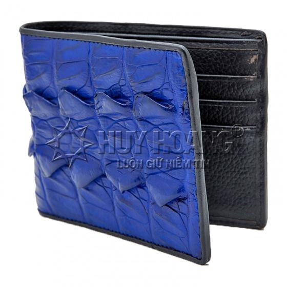 Bộ bóp & dây nịt nam Huy Hoàng da cá sấu gai đuôi màu xanh dương HV2296-HV4275