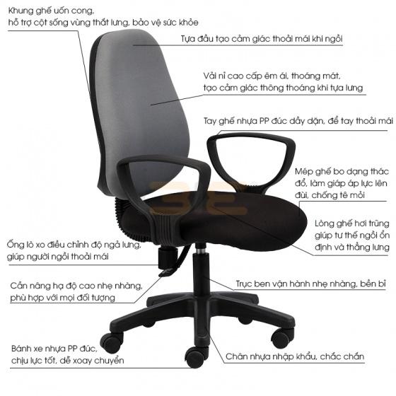 Ghế văn phòng IB1024 màu xám