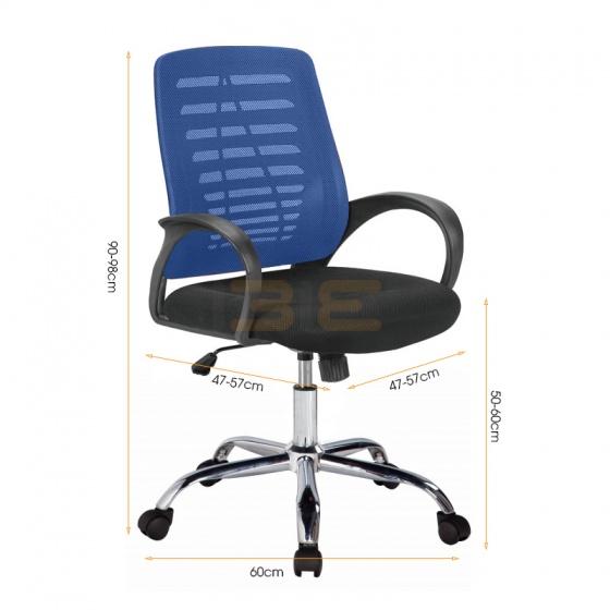 Ghế lưới IB503 chân thép mạ màu xanh