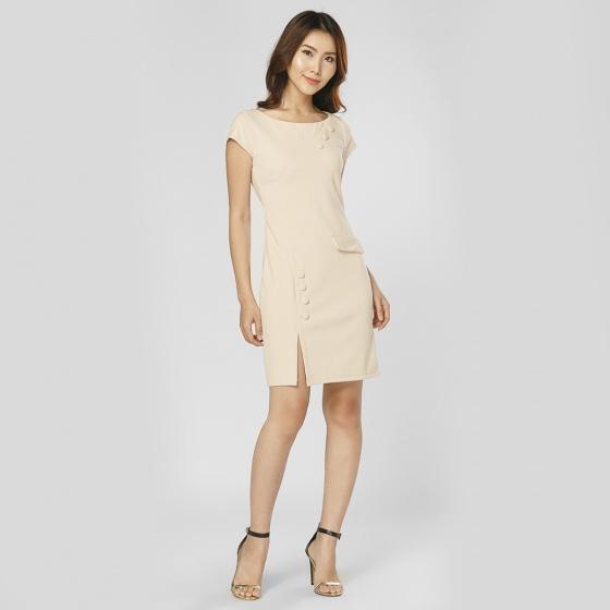 Đầm body thời trang Eden xẻ tà phối nút (Da) - D227