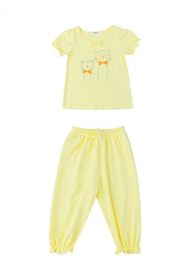 Set đồ bộ mặc nhà (tay ngắn) cotton cho bé gái - Tiniboo