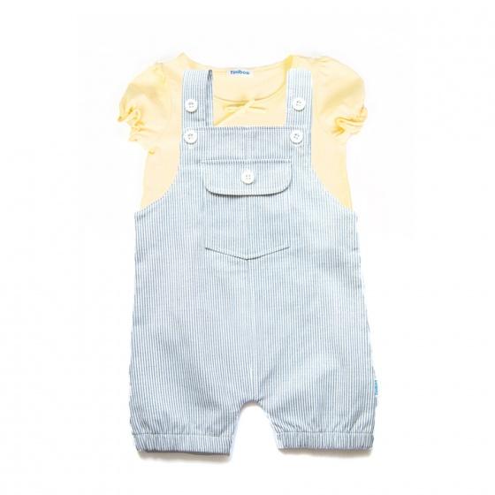 Set áo thun tay ngắn (vàng) và quần yếm cho bé gái Tiniboo