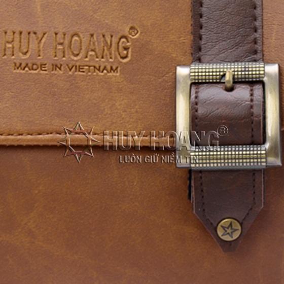 Túi xách phối viền Huy Hoàng 2 khóa màu bò nhạt HV6161