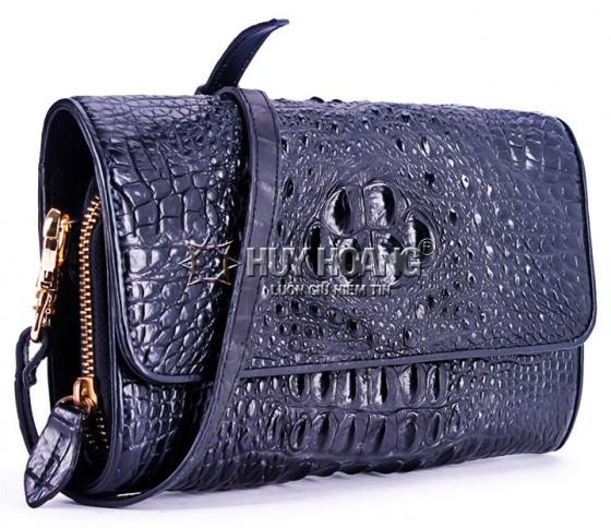 Túi xách nữ da cá sấu Huy Hoàng đeo chéo màu đen HV6228