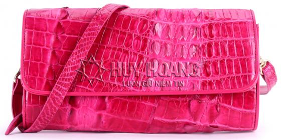 Túi xách nữ da cá sấu Huy Hoàng đeo chéo 2 gai màu hồng HV6250
