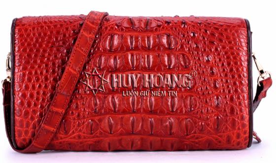 Túi xách nữ da cá sấu Huy Hoàng đeo chéo màu nâu đỏ HV6256