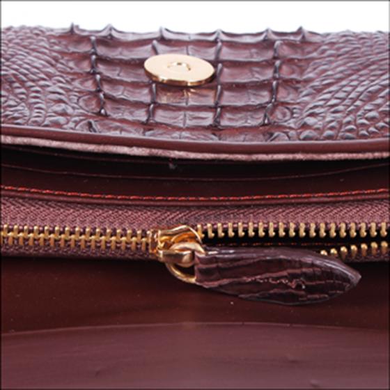 Túi xách nữ da cá sấu Huy Hoàng đeo chéo màu nâu đất HV6258
