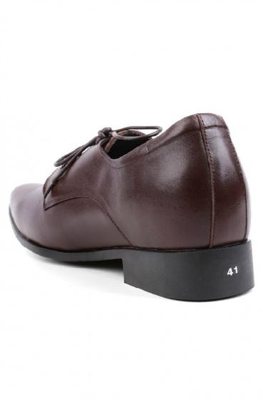 Giày nam tăng chiều cao Huy Hoàng cột dây màu nâu  HV7716