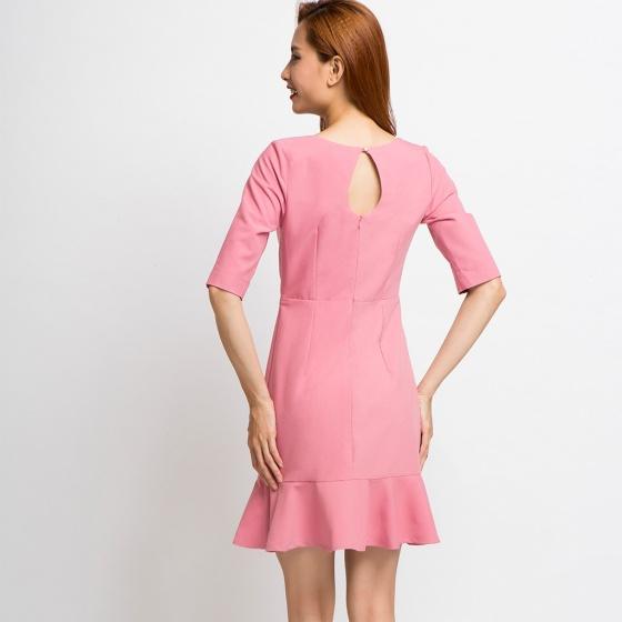 Đầm lai bèo Hity DRE002 (hồng champagne)