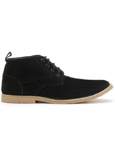Giày nam Huy Hoàng cổ cao trơn màu đen HV7758