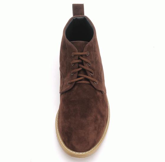Giày nam Huy Hoàng cổ cao trơn màu nâu HV7760
