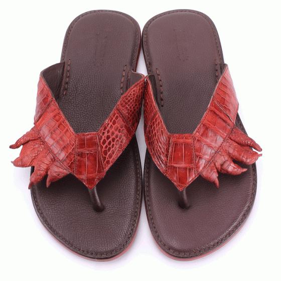 Dép nam Huy Hoàng da cá sấu móng tay màu nâu đỏ HV7214
