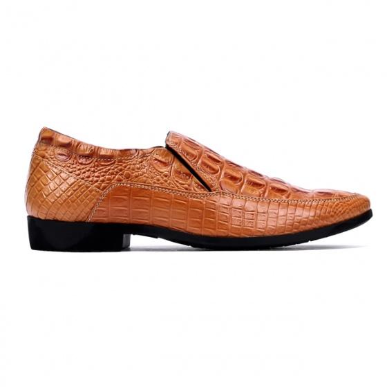 Giày nam vân cá sấu Huy Hoàng màu vàng  HV7130