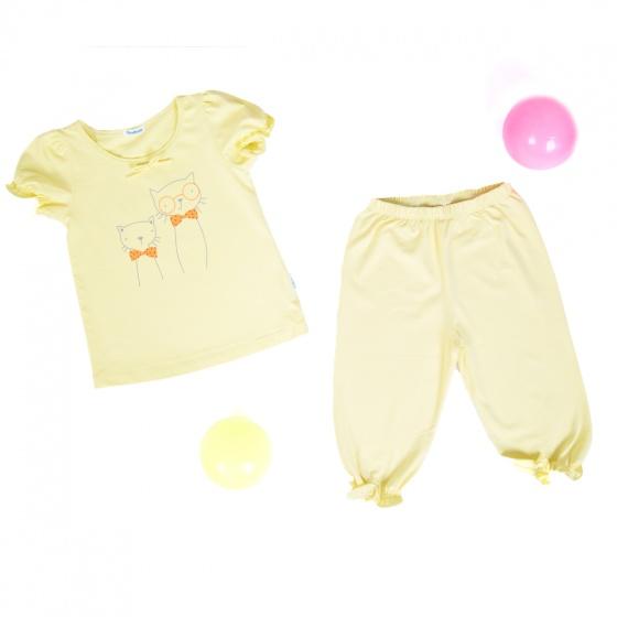 Set đồ bộ mặc ở nhà (tay ngắn) cotton cho bé gái - Tiniboo (vàng nhạt)