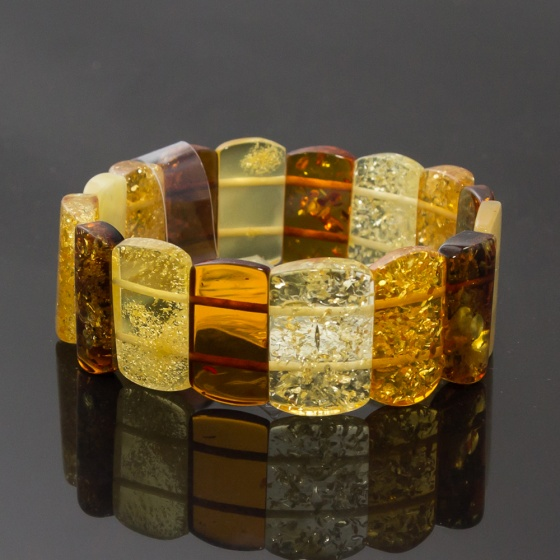 Vòng Hổ Phách Baltic nâu vàng bản 20mm cao cấp Hadosa