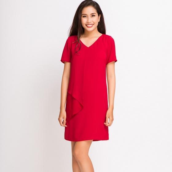 Đầm midi đắp vạt DRE054 (đỏ cabernet)