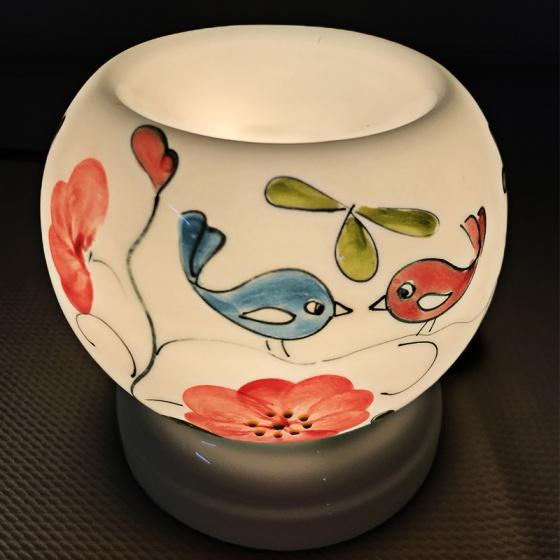 Đèn xông tinh dầu gốm Bát Tràng - Love Bird + Tặng kèm 01 lọ tinh dầu sả chanh 10ml