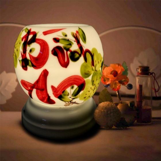 Đèn xông tinh dầu gốm Bát Tràng - Bình an + Tặng 01 lọ tinh dầu sả chanh 10ml
