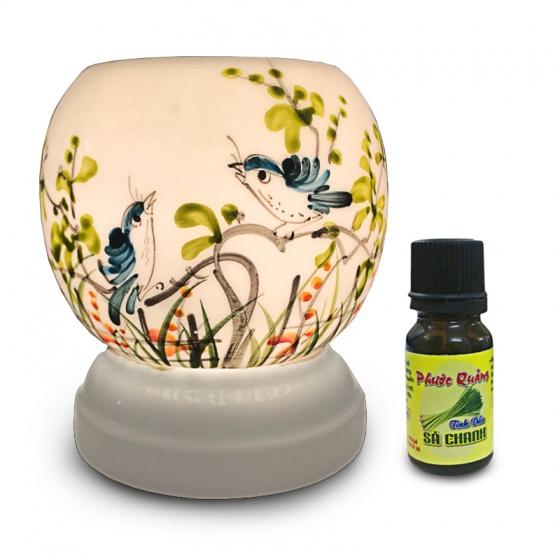 Đèn xông tinh dầu gốm Bát Tràng - Đôi chim xanh + Tặng 01 lọ tinh dầu sả chanh 10ml