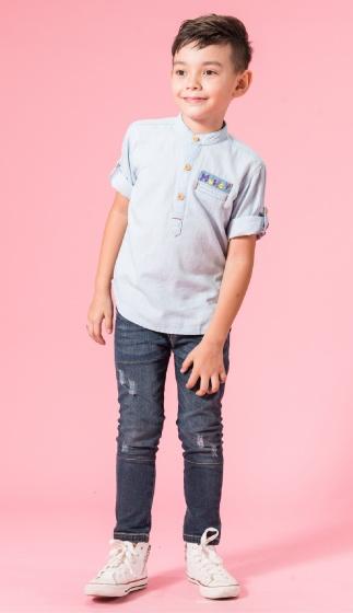 UN35 - áo sơ mi bé trai xanh nhạt