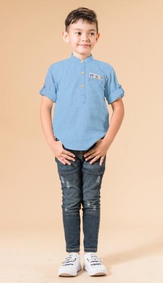 UN35 - áo sơ mi bé trai (xanh đậm)