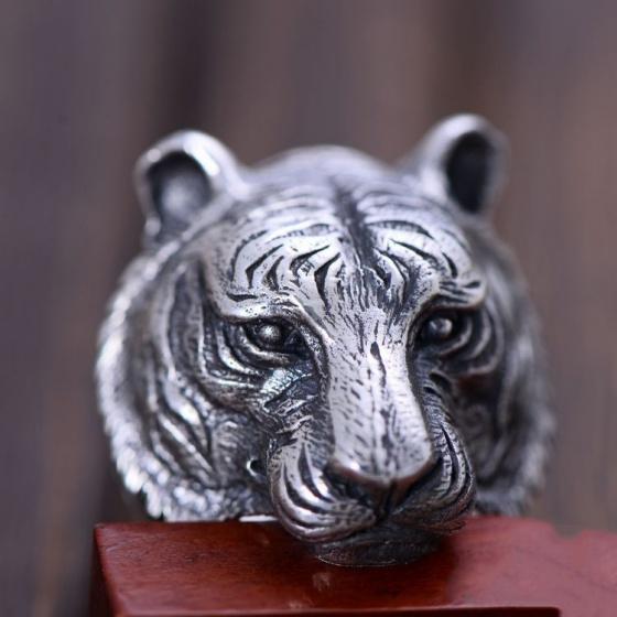 Nhẫn cọp bạc Thái 925 handmade size 9 cho nam