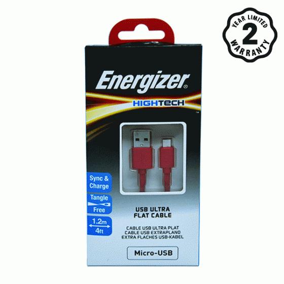 Cáp Micro USB Energizer Ultra Flat 1.2m (Red)