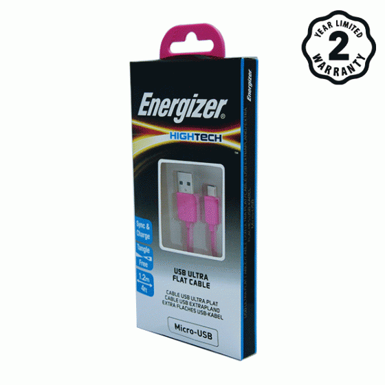 Cáp Micro USB Energizer Ultra Flat 1.2m (Hồng)