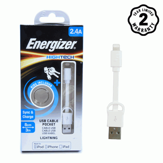 Cáp Lightning Pocket Energizer 8cm (White)