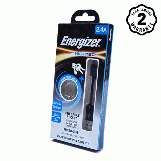 Cáp Micro USB Energizer Pocket 8cm (Black)