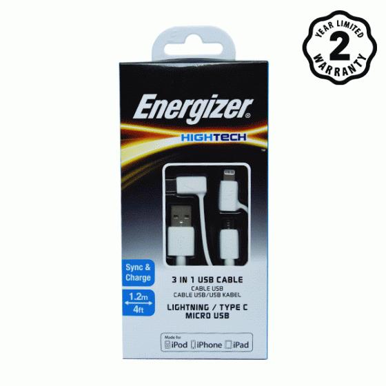 Cáp 3 trong 1 Lightning-Micro-TypeC Energizer 1m (White)