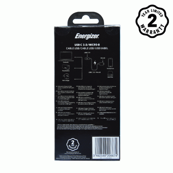 Cáp Type-C 3.0 to Micro-B Energizer 1.2m màu đen - C11C3MCGBK4