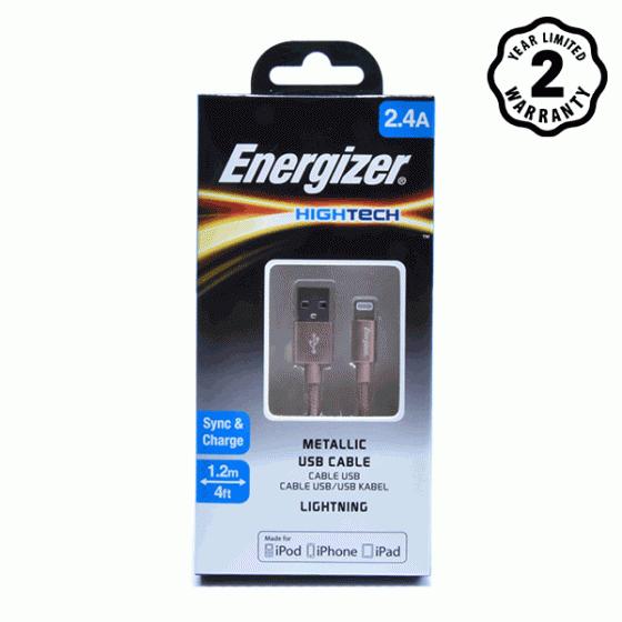 Cáp Lightning Energizer Metallic Aluminum 1.2m (Pink)