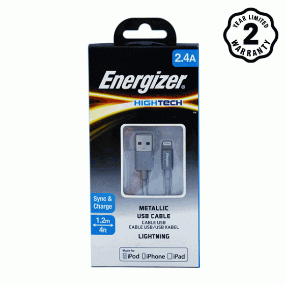 Cáp Lightning Energizer Metallic Aluminum 1.2m (Grey)