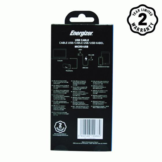 Cáp Micro-USB Energizer 2m (Black)