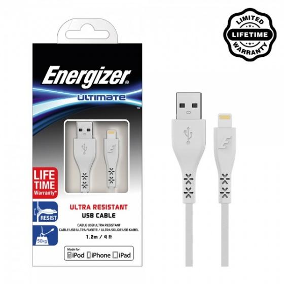 Cáp Lightning Energizer 1.2m Bảo Hành Trọn Đời - C41UBLIGWH4 (Trắng)