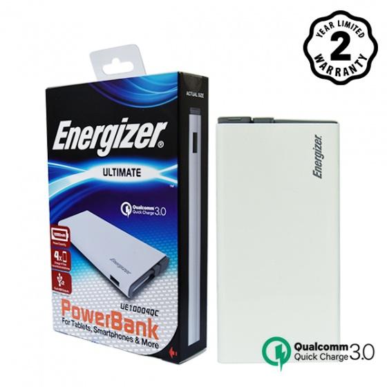 Pin sạc dự phòng Energizer 10.000mAh lõi Li-Po Quick Charge 3.0 - 2 cổng - UE10004QC (White)