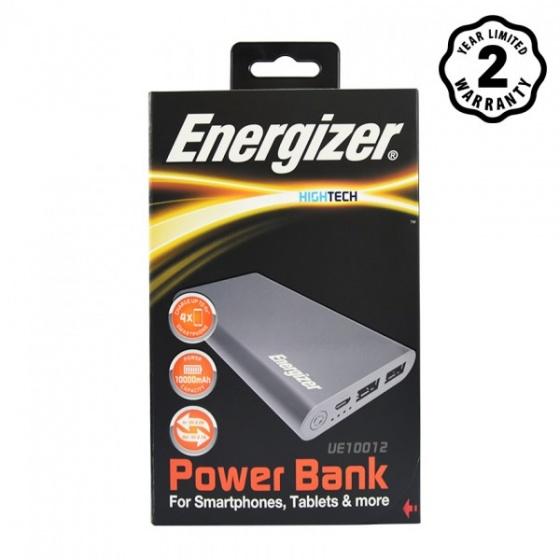 Pin sạc dự phòng Energizer 10,000mAh Li-Po 2 Cổng - UE10012 (Xám)