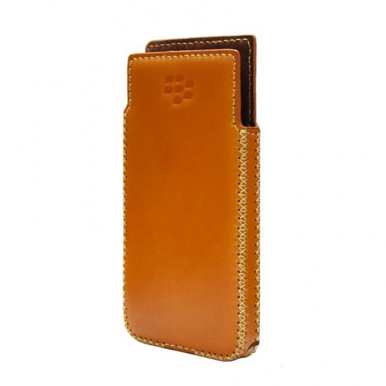 DTR- Bao da mộc BlackBerry KeyOne cầm tay vuông - màu nâu
