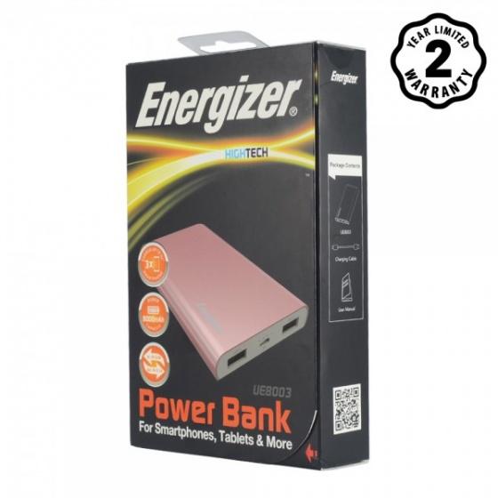 Pin sạc dự phòng Energizer 8,000mAh Li-Po 2 Cổng - UE8003RG (Vàng Hồng)