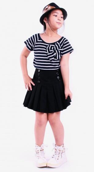 Áo kiểu bé gái Ugether UKID54 (Sọc xanh đen)