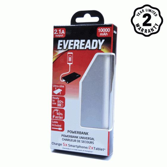 Pin sạc dự phòng Eveready (Energizer) 10.000mAh lõi Li-Po (Bạc)