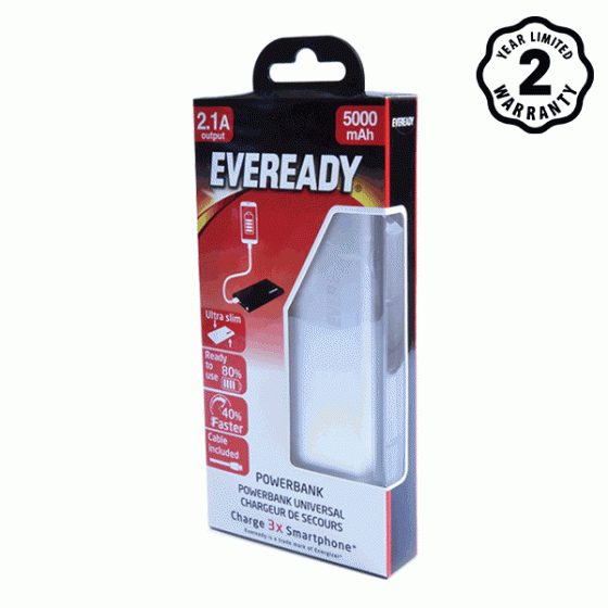 Pin sạc dự phòng Eveready (Energizer) 5.000mAh lõi Li-Po - PPA5000EMSL4 (Bạc)