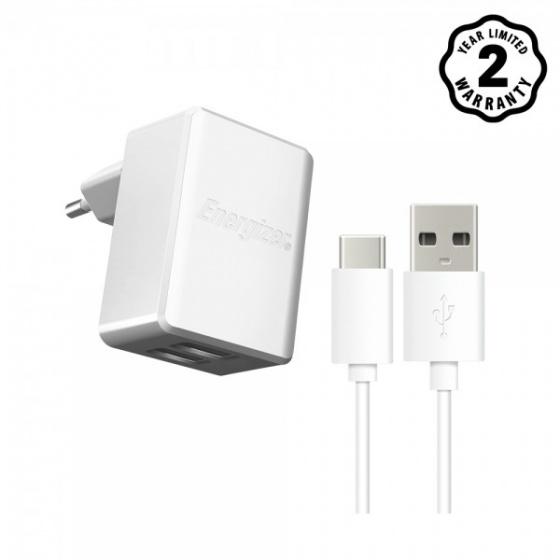 Sạc Energizer 2.4A 2 Cổng USB kèm cáp USB Type-C 2.0 - ACW2BEUHC23 (White)