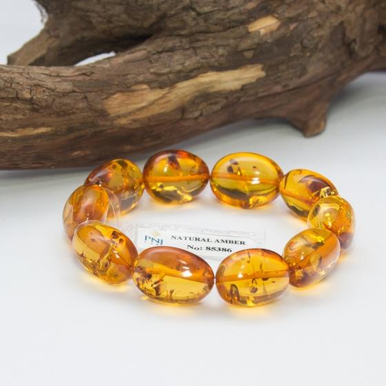 Vòng Hổ Phách Baltic nâu vàng kiểu hạt Olive đặc biệt cao cấp Hadosa
