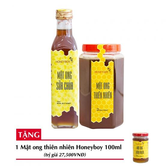 Combo mật ong thiên nhiên Honeyboy 1kg + Mật ong sữa chúa Honeyboy 250ml + Tặng mật ong thiên nhiên Honeyboy 100ml trị giá 29,000VNĐ