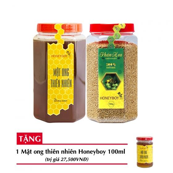 Combo mật ong thiên nhiên Honeyboy 1kg + Phấn hoa thiên nhiên Honeyboy 500g + Tặng mật ong thiên nhiên Honeyboy 100ml trị giá 29,000VNĐ