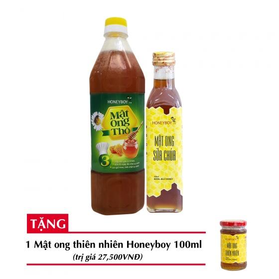 Combo mật ong thô Honeyboy 1000ml + Mật ong sữa chúa Honeyboy 250ml+ Tặng mật ong thiên nhiên Honeyboy 100ml trị giá 29,000VNĐ