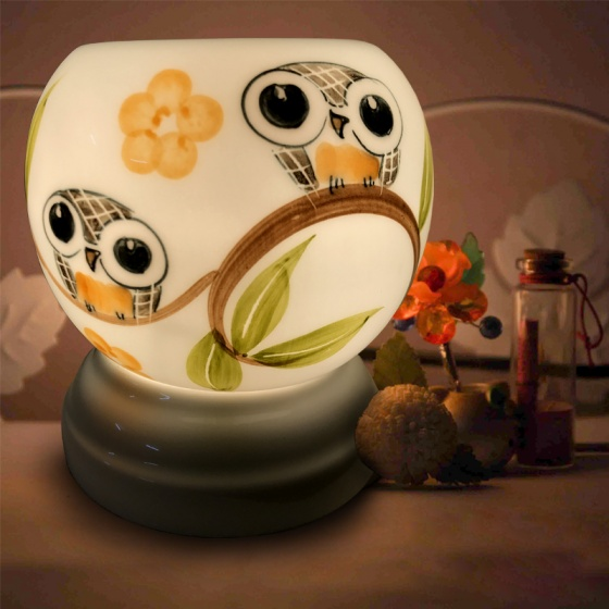 Đèn xông tinh dầu gốm Bát Tràng - Đôi Cú + Tặng 01 lọ tinh dầu sả chanh 10ml